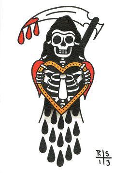on Behance -Tattoo Design Portfolio. on Behance - 🕸Bradentattoo@ to book.🕸 - XHAHNX 2013 von XHAHNX auf DeviantArt - bilder für die Haut - bright-and-bold Traditional Tattoo Old School, Traditional Tattoo Design, Traditional Tattoo Flash, Traditional Tattoo Grim Reaper, American Traditional Tattoos, Traditional Tattoo Drawings, New Tattoos, Body Art Tattoos, Sleeve Tattoos