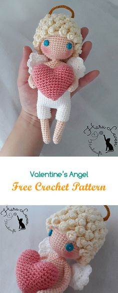 Valentine's Angel Free Crochet Pattern #crochet #yarn #crafts #toy #homedecor #handmade #homemade