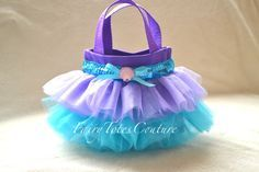 Little Mermaid Inspired Tutu Tote - Mini Tutu Tote - Princess Gift Bag - Little Mermaid Party Favor Little Mermaid Tutu, Little Mermaid Birthday, Little Mermaid Parties, Mermaid Party Favors, Mermaid Gifts, Doll Carrier, Under The Sea Party, Candy Bags, Kids Bags