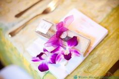 #Annapolis, MD #wedding - variegated purple and white dendrobium orchid from Thailand.