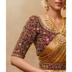 Collection of latest Indian Jewellery Designs. Online Catalog of Gold jewellery, Diamond jewellery, Imitation Jewellery, Antique and Bridal Jewellery South Indian Blouse Designs, Blouse Designs High Neck, Hand Work Blouse Design, Stylish Blouse Design, Fancy Blouse Designs, Wedding Saree Blouse Designs, Pattu Saree Blouse Designs, Cotton Saree, Silk Sarees