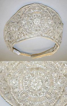 Detail of Wedding headdress, crystal beaded embroidery, 1926 Image © The Metropolitan Museum of Art
