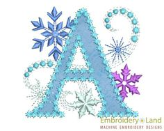 Ice Princess Applique Letter A  Frozen  Cloth by EmbroideryLand, $3.90
