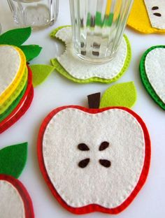 Felt Apple Coasters. I would try using fleece. It would make them easier to wash if something spilled on them!