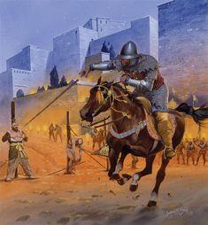 La explicación que he encontrado a esta lámina del gran Angus es la ejecución (en forma de juego de cañas, tornadas en lanzas) de renegados cristianos tras la toma de Granada. Más en www.elgrancapitan.org/foro
