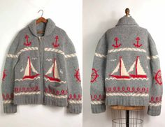 vintage 1950s mary maxim cowichan cardigan / 50s by SwaneeGRACE, $325.00