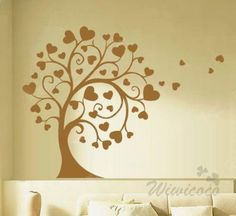 Tree with hearts --Removable Home Art Deco Mural Wall Sticker