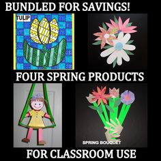 SAVE MONEY WITH BUNDLED PRODUCTS!   Spring Bundle of Classroom Art Projects... Patterns, PDF lesson plans, samples, photos.  Everything to make your life easier. Spring is such a fun, colorful, new beginning - great time to introduce art into your classroom and bulletin boards. HAVE FUN! Check http://www.onestopteachershop.com/2015/04/what-is-languageart.html