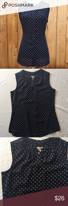 """Banana Republic navy anchor sleeveless blouse This is a beautiful nautical blouse with buttons. Soft fabric, small white anchor print. This is perfect for any season, but is especially cute for spring!  Measurements laying flat:  * Bust 18.5"""" * Length 25""""  Condition/Flaws * Gently used, but still in excellent condition * No significant flaws (stains, rips, pilling)  Item # * RS54.51217 Banana Republic Tops Blouses"""