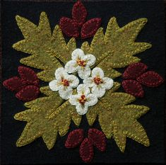 "Wool applique BOM PATTERN &/or KIT ""Desert Flower"" block 1 of 24 ""Four Seasons of Flowers"" wool bed runner wall hanging table runner rug Wool Applique Patterns, Felt Applique, Applique Designs, Applique Quilts, Embroidery Patterns, Wool Quilts, Wool Fabric, Bed Runner, Desert Flowers"