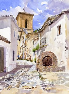San Luis by Margaret Merry - San Luis Painting - San Luis Fine Art Prints and Posters for Sale Watercolor City, Watercolor Sketch, Watercolor Landscape, Watercolour Painting, Landscape Art, Landscape Paintings, Watercolors, Watercolor Architecture, English Artists
