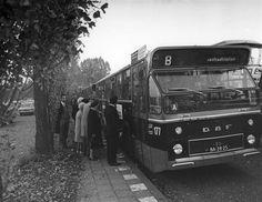 DAF/Hainje autobus nr. 177 (standaardbus serie 171-190) van het G.E.V.U. als lijn B (Centraal Station) op de Mereveldseweg tijdens de laatste rit van lijn B (Centraal Station - Mereveld) op 24-10-71