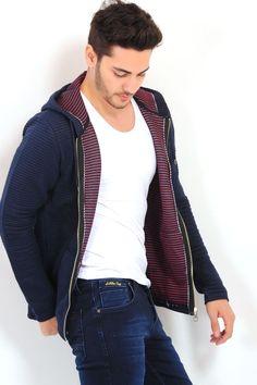 994396294e2e4 Kabartma Detay Kapşonlu Lacivert Ceket #giyim #indirim #kampanya #bayan # erkek #