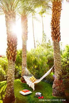 Get the Look: The Parker Hotel's Lush Landscape // hammock, palm trees Parker Palm Springs, Palm Springs Style, Palm Trees Landscaping, Tropical Landscaping, Palm Springs Mid Century Modern, Parker Hotel, Palm Springs Hotels, Just Dream, Tropical Garden
