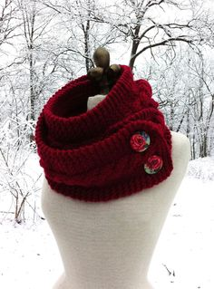 Infinity Scarf Cowl with Romantic Covered Buttons - Cranberry Red. $80.00, via Etsy.