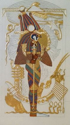"""A God In All His Colors The completed color (sans touch-ups) of the God Ptah-Sokar-Ausir on the icon panel of """"Ptah-Sokar-Ausir""""~ an original Kemetic icon by master iconographer Ptahmassu Nofra-Uaa/ Panel 1 of The Sacred West Triptych Egyptian Mythology, Egyptian Symbols, Egyptian Goddess, Egyptian Art, Egyptian Pyramid, Ancient Egypt History, Ancient Aliens, Ancient Greece, Tableaux Vivants"""