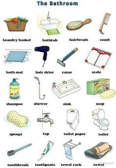 English vocabulary : the bathroom English Time, English Course, Learn English Words, English Study, English Class, English Lessons, English Idioms, English Vocabulary, English Grammar