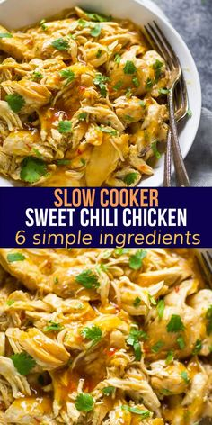 Fall apart tender, juicy, and loaded with flavor, this slow cooker sweet chili chicken requires just 6 ingredients! Perfect to use in quesadillas, rice bowls, tacos and more. #sweetpeasandsaffron #slowcooker #chicken #mealprep #freezer #glutenfree #kidfriendly Sweet Chili Chicken, Chicken Meal Prep, Slow Cooker Recipes, Crockpot Recipes, Cooking Recipes, Chicken Breast Recipes Healthy, Chicken Recipes, Dinner Menu, Dinner Recipes