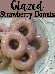 Baked and Glazed Strawberry Donuts Recipe #pinkrelief