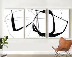 Abstract Art Set of Black and White Minimal Art, Line Art Print, Large Wall Art, Monochrome Home Abstract Drawings, Abstract Canvas, Abstract Print, Black And White Artwork, Black And White Abstract, Black White, Download Art, Grand Art, Oversized Wall Art