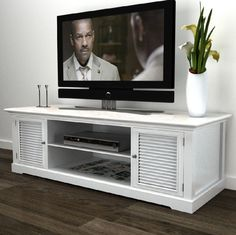 Shabby Chic Sideboard TV Stand Furniture DVD Cabinet White Unit 2 Doors Shelves in Home, Furniture & DIY, Furniture, TV & Entertainment Stands | eBay