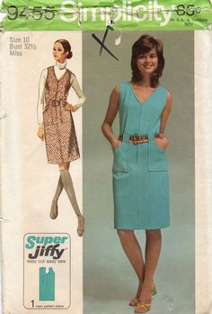 Simplicity 9455 1970s Misses Jiffy Front Zip Jumper and Dress Pattern by mbchills, womens vintage sewing pattern