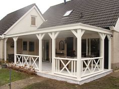 Garden pleasure: Larch wooden veranda, roof with EPDM, roof girdles, polycarbonate, PVC or glass roof system - - House Front, House Exterior, Decks And Porches, Patio Design, Front Porch Railings, Porch Veranda, Porch Railing, Porch, Wooden Porch