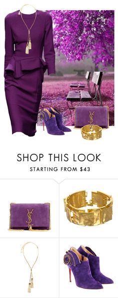"""Autumn Purple"" by dezaval ❤ liked on Polyvore featuring Yves Saint Laurent, Lanvin and Christian Louboutin"