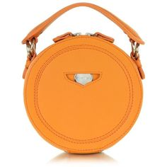 Carven Orange Leather Round Clutch (€340) ❤ liked on Polyvore featuring bags, handbags, clutches, orange clutches, leather handbag purse, leather handbags, orange purse and hand bags