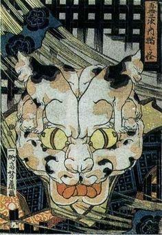 【歌川芳藤】五十三次之内猫之怪