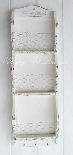Chicken wire shelf ~ will do this today! Rustic Crafts, Wood Crafts, Country Decor, Farmhouse Decor, Farmhouse Style, Wire Shelving, Shelves, Chicken Wire Crafts, Barn Wood