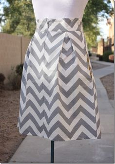 pleated chevron skirt (from Crafty Cupboard using moda half moon modern - yum! But can I really wear chevrons?)