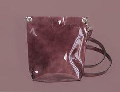"Burgundy Patent Leather Bag ""Monica Opal"", Patent Leather Crossbody, Small Leather Purse, Leather Cross Body Handbag"
