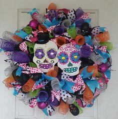 """Huge 28"""" Fluffy and Full Day of the Dead Double Sugar Skull Wreath - My Sugar Skulls   #sugarskull #sugarskulls #sugarskullcostume #mexicanskull #sugarskullmakeup #sugarskulltattoo #spoonfulofsugar #dayofthedead #dayofthedeadcostume #dayofthedeadcostumes #diademuertos #mexicandayofthedead #mysugarskulls"""