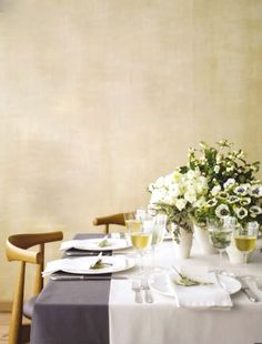 white and gold and lavender dining