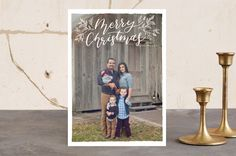 """""""Merry Christmas Botanical"""" - Flora & Fauna, Hand Drawn Christmas Photo Cards in Snow by Grace Kreinbrink."""