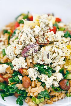 Mediterranean Feta on Farro Salad I can't wait to make this for our summer time 'moves under the stars' picnics.  I'll add artichokes and Kalamata olive and dairy feta