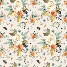Boho Fabric - Western Autumn / More Florals / Ivory By Shopcabin - Boho Cotton Fabric By The Metre by Spoonflower Woodland Nursery Bedding, Girl Nursery Bedding, Crib Bedding, Textiles, Minky Baby Blanket, Pink Stripes, Custom Fabric, Prints, Florals