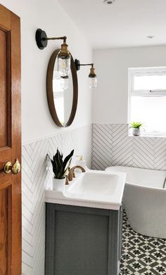 Bathroom Design Small, Simple Bathroom, Bathroom Interior Design, Master Bathroom, Interior Ideas, White Bathroom, Boho Bathroom, Bathroom Plants, Cloakroom Ideas Small