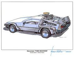 DeLorean time machine early design by Ron Cobb