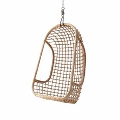Indoor Rattan Hanging Egg Chair in Natural Finish Chaise Ikea, Ikea Chair, Egg Chair, Eco Furniture, Living Furniture, Outdoor Furniture, Eames Chairs, Room Chairs, Rattan Chairs