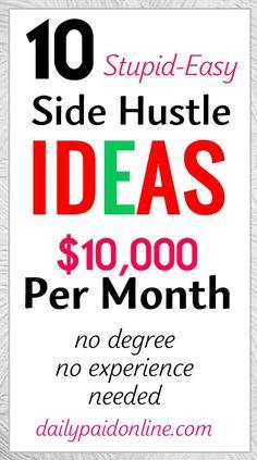 Make Side Money, Make Money Today, Earn Money From Home, Make Money Fast, Way To Make Money, Free Money, Earn Extra Money Online, Ways To Earn Money, Extra Money Jobs
