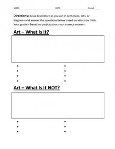 What Is Art? Free Introduction to Art Worksheet for Classroom Teachers  Great first day activity.