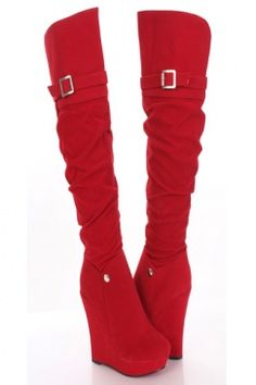 Red Faux Suede Buckle Accent Knee High Wedge Platform Boots