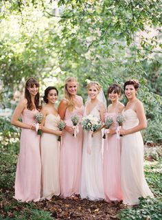 Bridesmaids Gowns by Amsale | See more on Style Me Pretty: http://www.StyleMePretty.com/2014/03/03/rustic-sodo-park-wedding-in-seattle-washington/  Bryce Covey Photography