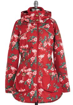 A Cottage Education Coat. Master the art of rustic charm in this delightful coat by Blutsgeschwister! #red #modcloth