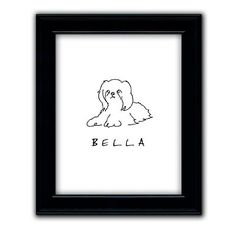 With a selection of 24 tail-wagging dog breeds, you can celebrate the arrival of a new pet or honor a longtime family friend with a customized pen-and-ink pet drawing. Add one to your own wall and give one as a gift.Made-to-order drawing is printed on fine art paperBehind glass, finished with a black frameArrives ready to hang with an integrated sawtooth hangerSpecify breed and pet's name, up to 12 charactersAllow two to three weeks for deliveryMade in the USA