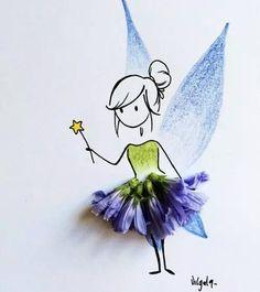 Amazing Art with flowers Autumn Crafts, Nature Crafts, Art Floral, Art For Kids, Crafts For Kids, Pressed Flower Art, Illustration, Little Doll, Leaf Art