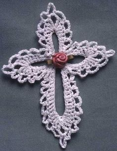 "Click the banners below for more popular patterns, available via mail or download! Lace Cross FP144 Designed by: Maggie WeldonSize: 4-1/2"" wide x 5"" tallMateria"