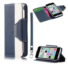 myLife Tufts Blue + Floral White {Modern Design} Faux Leather (Card, Cash and ID Holder + Magnetic Closing + Hand Strap) Slim Wallet for the...